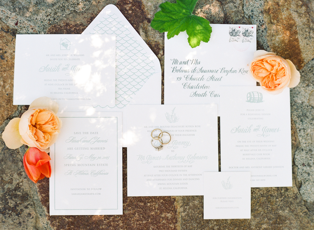Sarah & James' elegant invitation suite and rings; photo by Sylvie Gil.