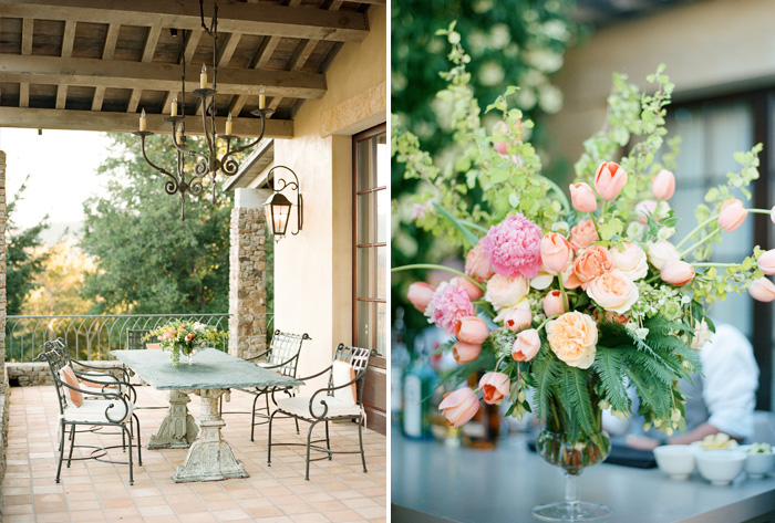 Pastel floral compositions added splashes of colors to the Napa Valley reception space; photo by Sylvie Gil