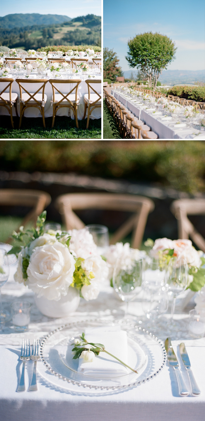 Elegant place setting graced the long reception tables at the outdoor Napa reception; photo by Sylvie Gil