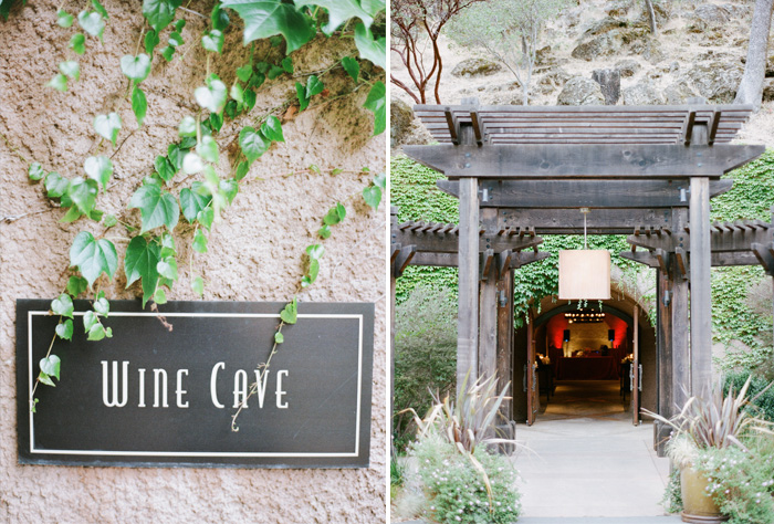 Details from the Calistoga Ranch wedding reception, held at the Wine Cave; photo by Sylvie Gil