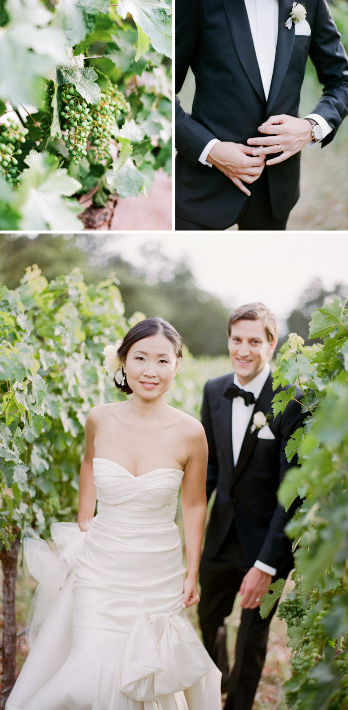 Peter follows his bride through the grape-laden vineyards of their Calistoga Ranch wedding venue; photo by Sylvie Gil