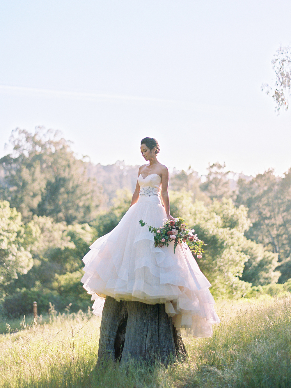 A bride poses in a Lazarro gown atop a tree in a meadow, holding a colorful bouquet; photo by Sylvie Gil