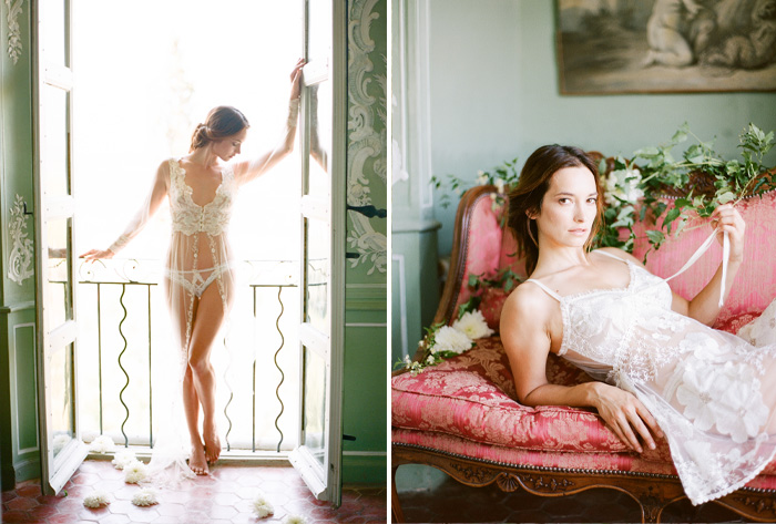 The bride poses in a Clair Pettibone gown for a boudoir session on antique sofas and between French doors in a chateau in Provence; photo by Sylvie Gil
