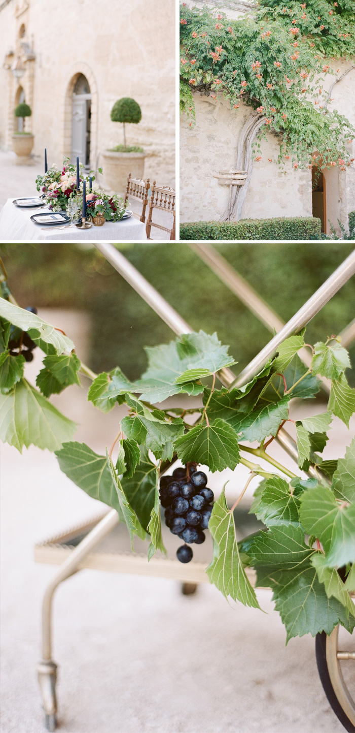 Black grapes find their way into reception details - on a gold bar cart and in the reception table setting decorations; photo by Sylvie Gil