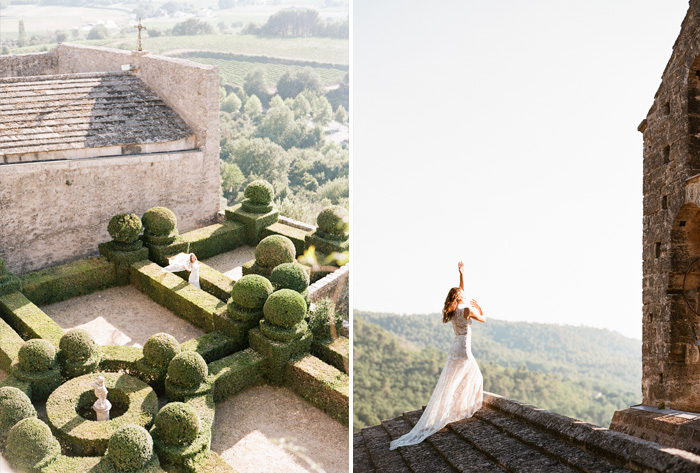 The bride wanders through extensive chatteau gardens, climbs onto the church rooftop to bask in the dying sunlight; photo by Sylvie Gil