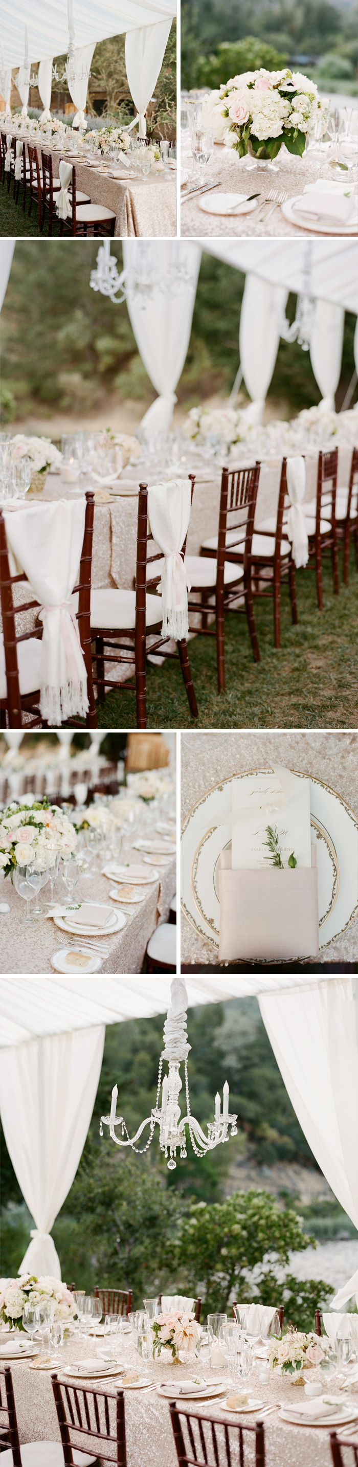 Shawls tied behind chairs, painted plates, glittering tablecloths, and gorgeous floral arrangements add to the elegance of the outdoor reception; photo by Sylvie Gil