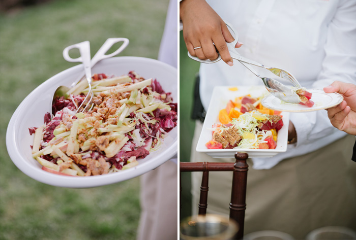 The outdoor reception featured delicious catering, served at each table; photo by Sylvie Gil