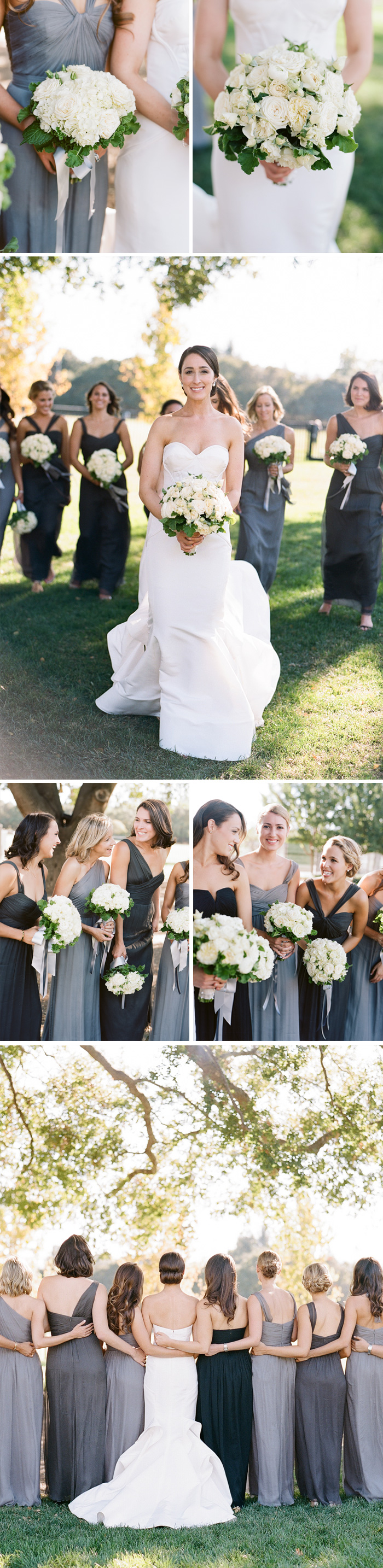The bride and bridesmaids show off their classic white bouquets and share laughs together before the ceremony during a bridal party shoot with Sylvie Gil
