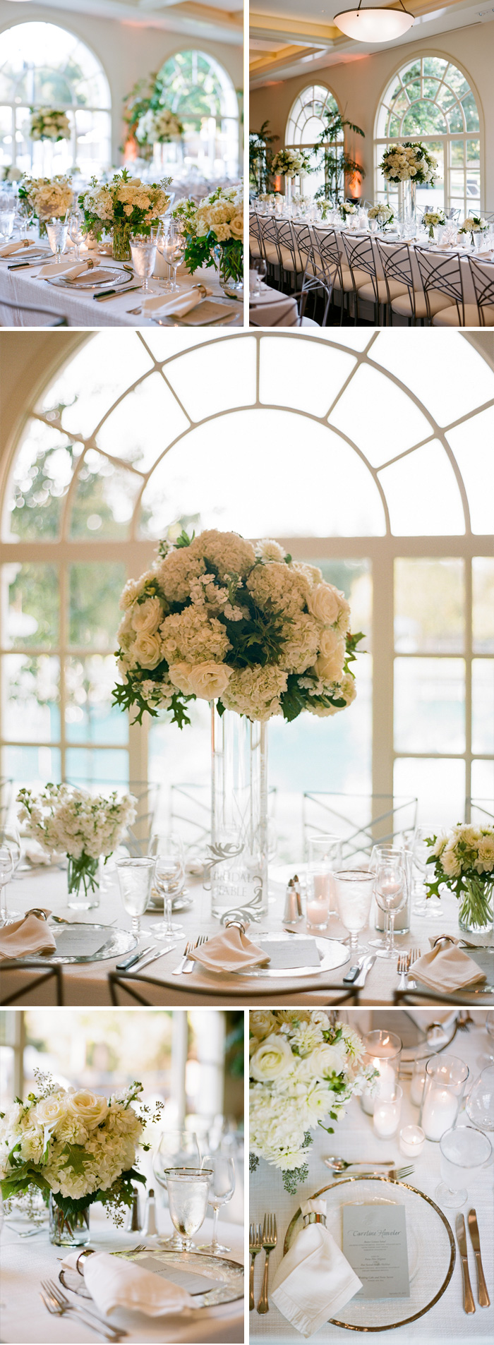 A classic and elegant indoor reception - refined place settings and white florals; photo by Sylvie Gil