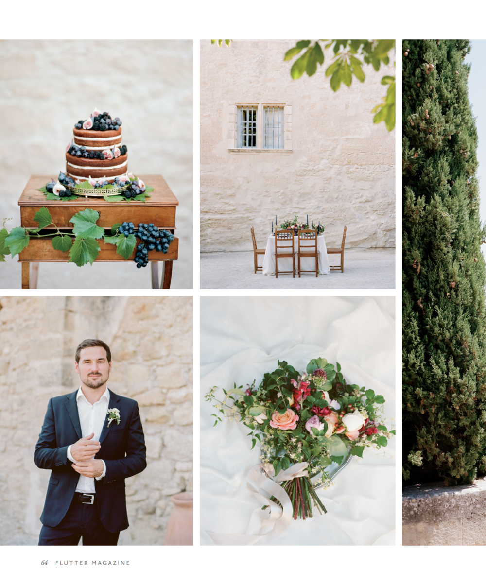 Featured images from Sylvie Gil's Provence wedding inspiration, in Flutter magazine.