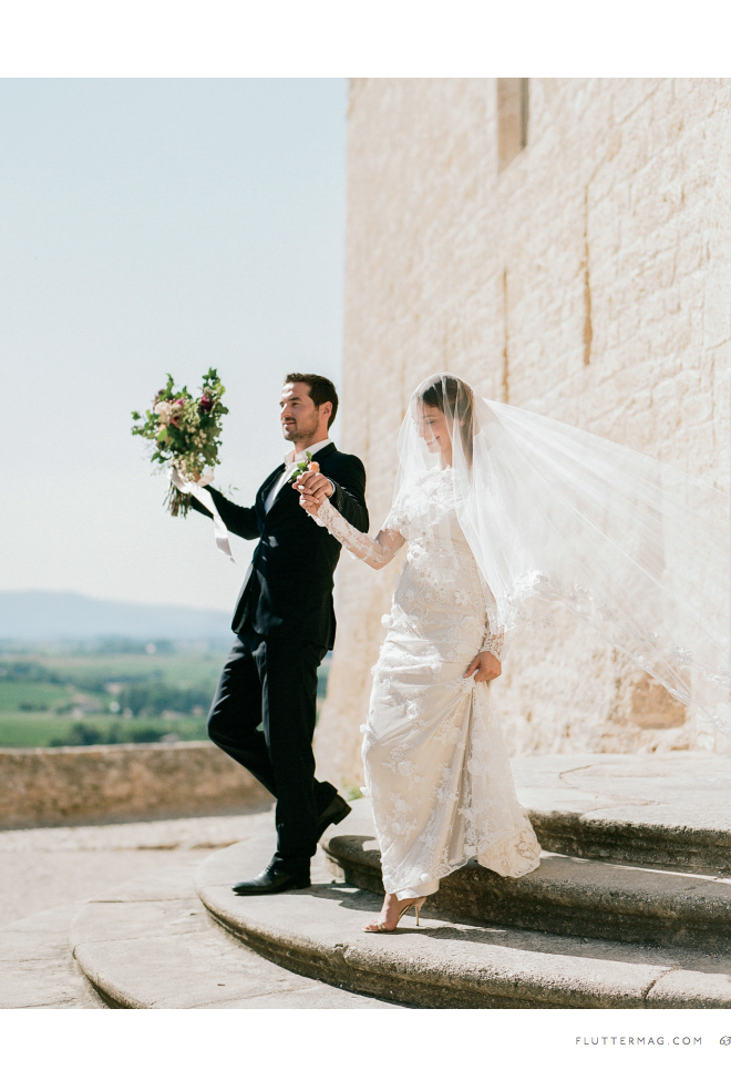 Sylvie Gil's Flutter magazine feature, a couple walks out of the church in Provence, France