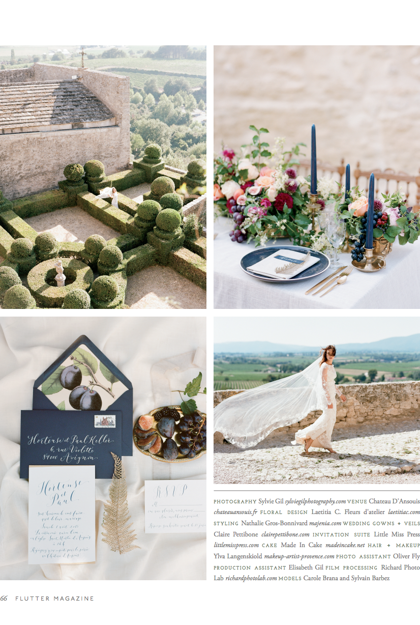 Details from Sylvie Gil's Provence wedding shoot, featured in Flutter magazine