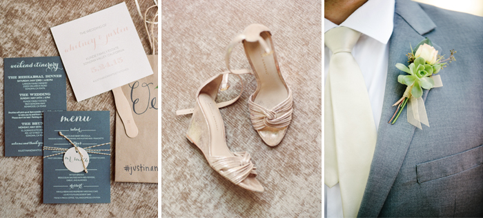 A spread showing wedding favors, the bride's heels and the groom's boutonierre; photo by Sylvie Gil