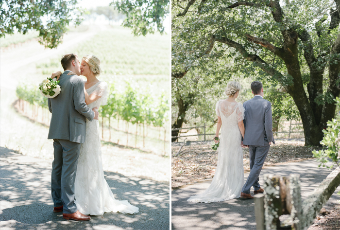 The pair share a kiss and a short walk through their wine country wedding venue before the ceremony; photo by Sylvie Gil