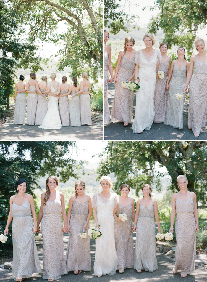 Whitney and her bridesmaids pose for shots before the wedding, dressed in similar shades of taupe and light grey gowns; photo by Sylvie Gil