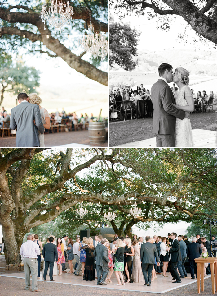 Guests join the couple in love for dancing under the oaks, hanging with chandeliers and string lights; photo by Sylvie Gil