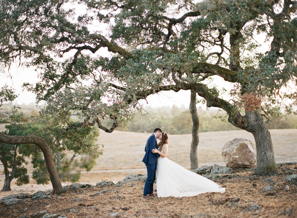Tali's ethereal gown floats out behind her as she and Sam kiss under a gorgeous oak; photo by Sylvie Gil