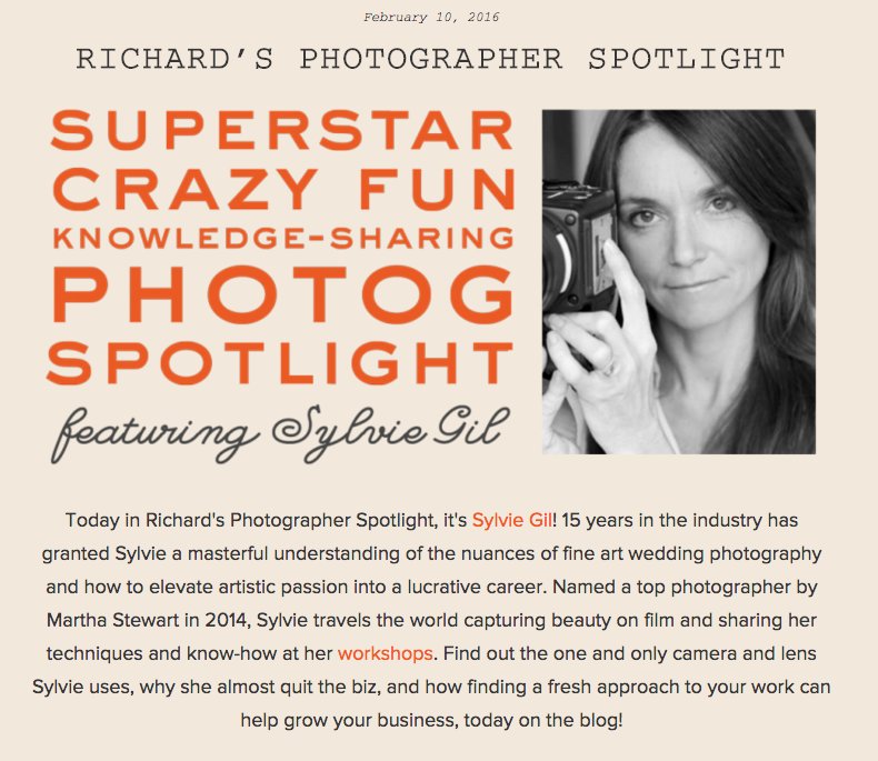 Sylvie Gil featured on Richard Photo Lab's Photographer Spotlight