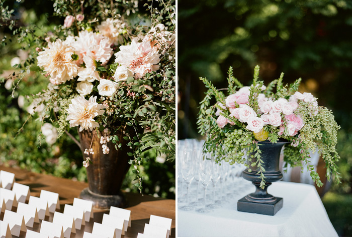 Max Gill florals highlight every aspect of the outdoor reception, from placecards to drink tables; photo by Sylvie Gil