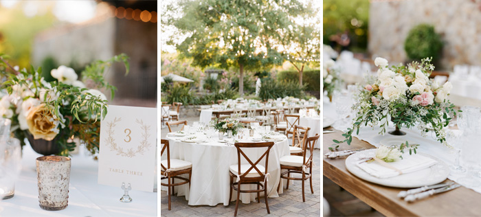 Embossed table markers, rustic votives, linen-over wood table runners, and gorgeous flowing centerpieces make this outdoor Napa reception a truly beautiful event; photo by Sylvie Gil