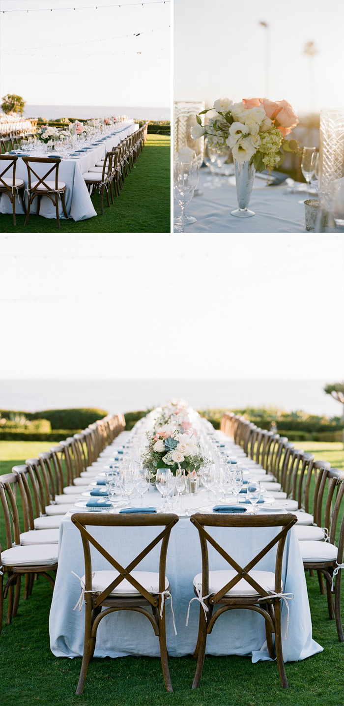 Simple, dark wood chairs complement the light blue linens and cream, blush, and olive florals at the reception; photo by Sylvie Gil