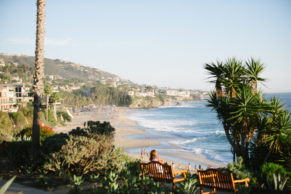 Looking down the coastline from the Ritz Carlton, Laguna Beach, a truly beautiful place for a Southern California wedding reception; photo by Sylvie Gil