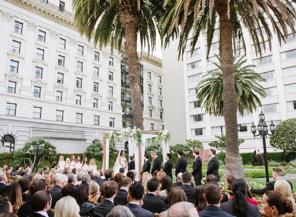 The rooftop of the Fairmont Hotel in San Francisco, a gorgeous venue for an urban wedding; photo by Sylvie Gil