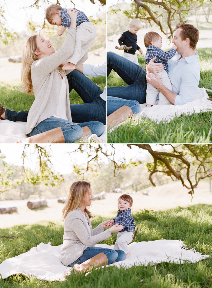 Mother, father, and baby photographed spending quality time together outdoors; photo by Sylvie Gil