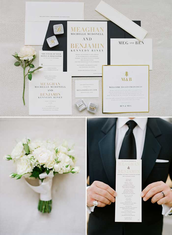 Wedding rings sit atop an elegant invitation suite, the groom holds a menu card for a photograph; photo by Sylvie Gil