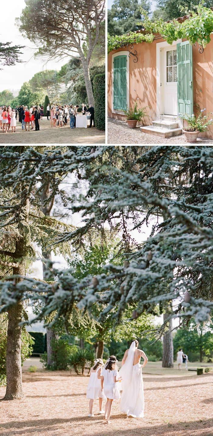 Guests mingle before the reception; Amelie and flower-crowned flower girls walk into the beautiful tree-studded grounds of the estate; photos by Sylvie Gil