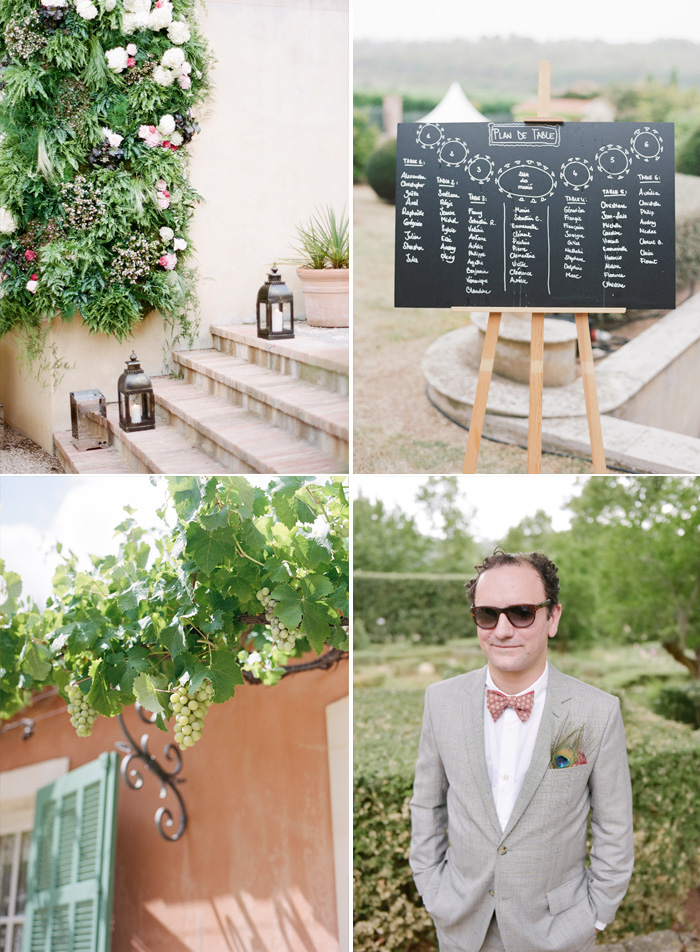 Lanterns line the steps down to the reception space; a chalkboard table plan, a dapper guest with peacock feather boutonniere; photos by Sylvie Gil