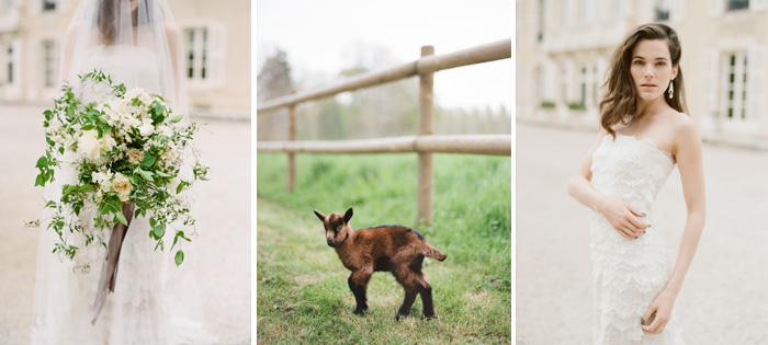 The bride poses in an Oscar de la Renta gown outside the chateau, a goat trots along in the fields; photo by Sylvie Gil