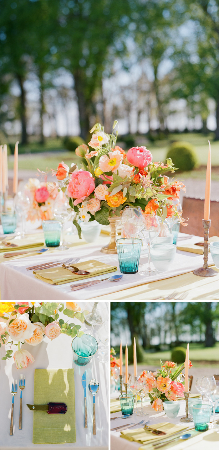 Jewel tone glassware and florals make for a lovely spring reception table at the 2016 Workshop in Burgundy; photo by Sylvie Gil