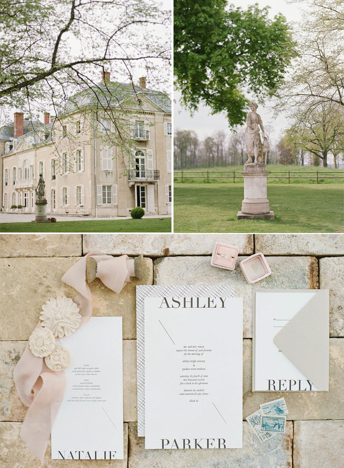 Shots of the chateau and the surrounding grounds, as well as mock up invitations and examples of styling; photos by Sylvie Gil