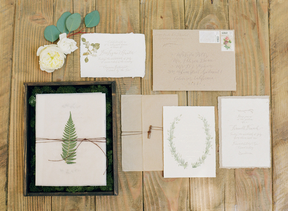 Bree + Hunter's redwood forest themed invitation suite; photo by Sylvie Gil