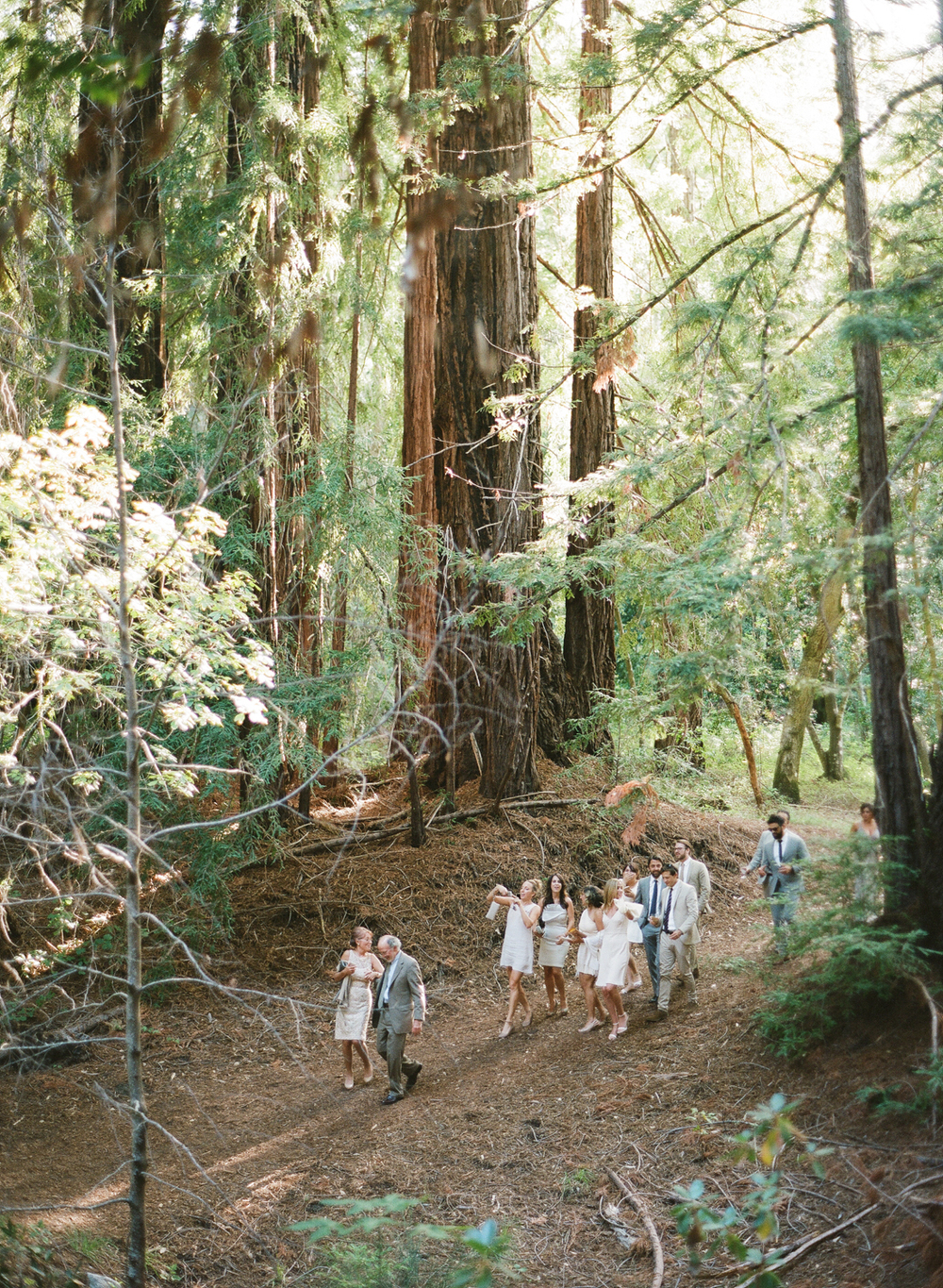 Guests walk down a shady forest path to the ceremony space, dressed in shades of cream and white; photo by Sylvie Gil