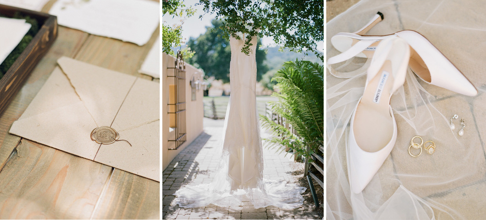 Invitation envelope, the bride's gorgeous gown hangs from a California oak tree, her Manolo Blahniks rest in a swath of lace; photos by Sylvie Gil
