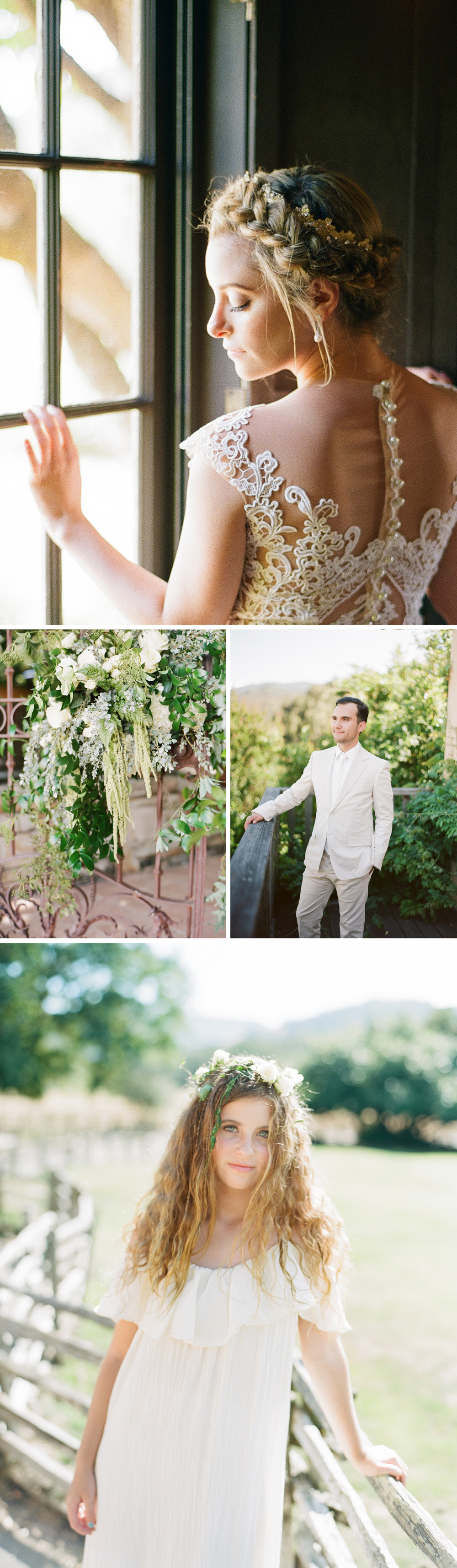 The bride stands at the window with a gorgeous crown of braids, floral decorations hang from a wrought iron gate, a dreamy flower girl stands in a pasture; photos by Sylvie Gil