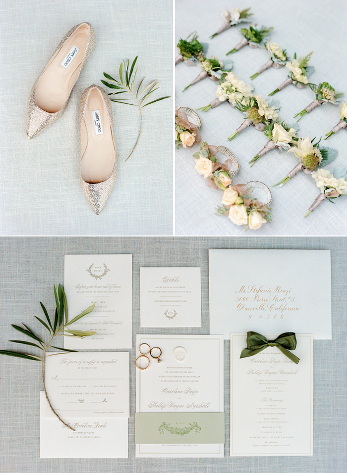 Sequined Jimmy Choo flats, boutonnieres and corsages, olive branch invitation suite; Sylvie Gil Photography
