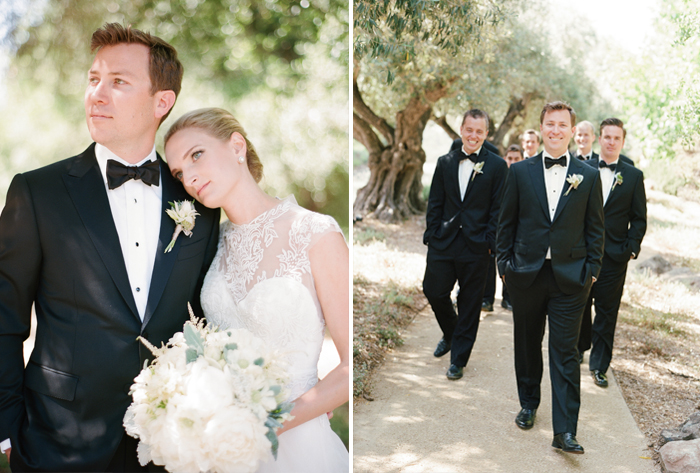 Groom and groomsmen in tuxedos at Calistoga Ranch; Sylvie Gil Photography