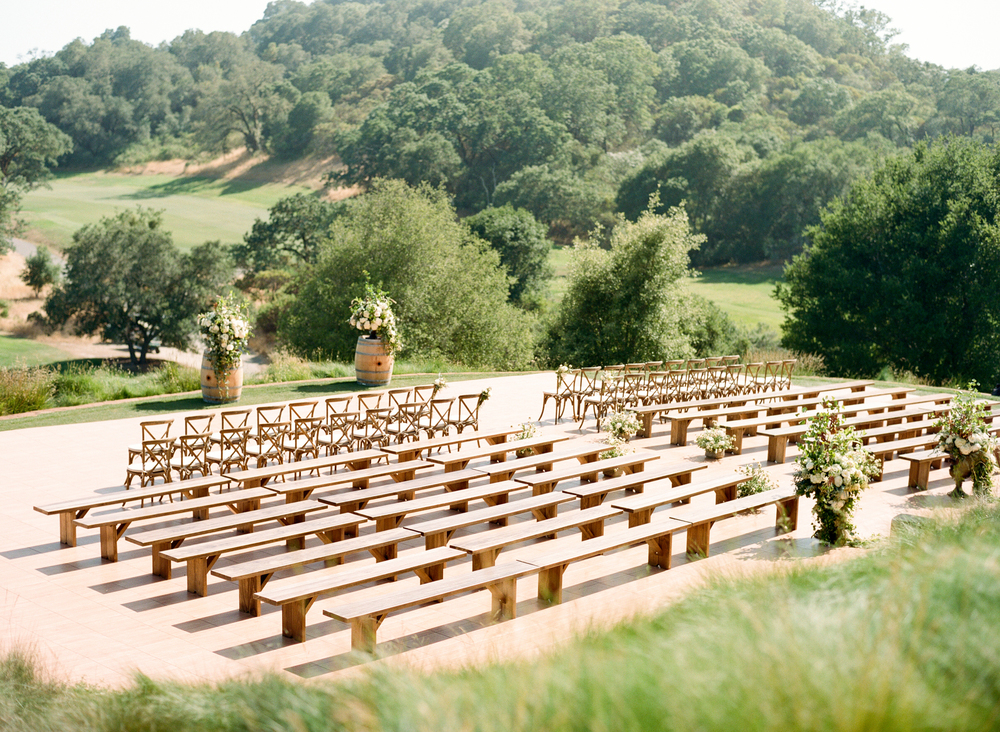 Ceremony seating overlooking Mayacama golf courses in Calistoga Ranch; Sylvie Gil Photography