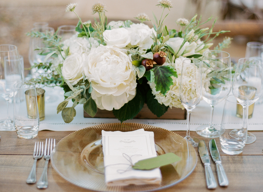 White and green peony box centerpiece at outdoor reception in Calistoga Ranch; Sylvie Gil Photography