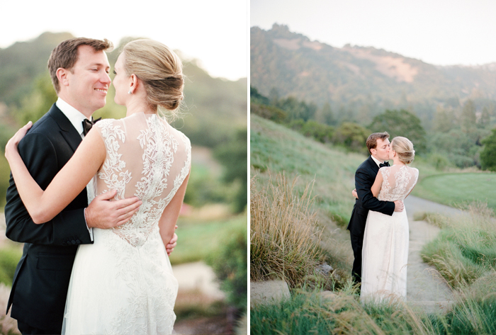 Bride and groom share a sunset kiss in Calistoga Ranch venue; Sylvie Gil Photography