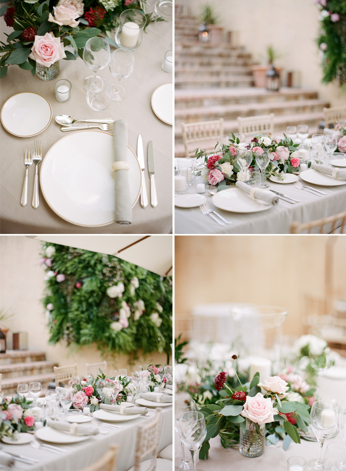 Elegant table settings, pink and green floral accents and centerpieces; Sylvie Gil Photography