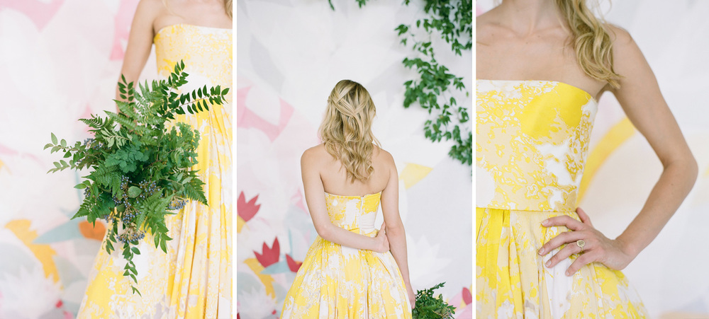 Paint splash yellow a-line strapless wedding gown; Sylvie Gil Photography
