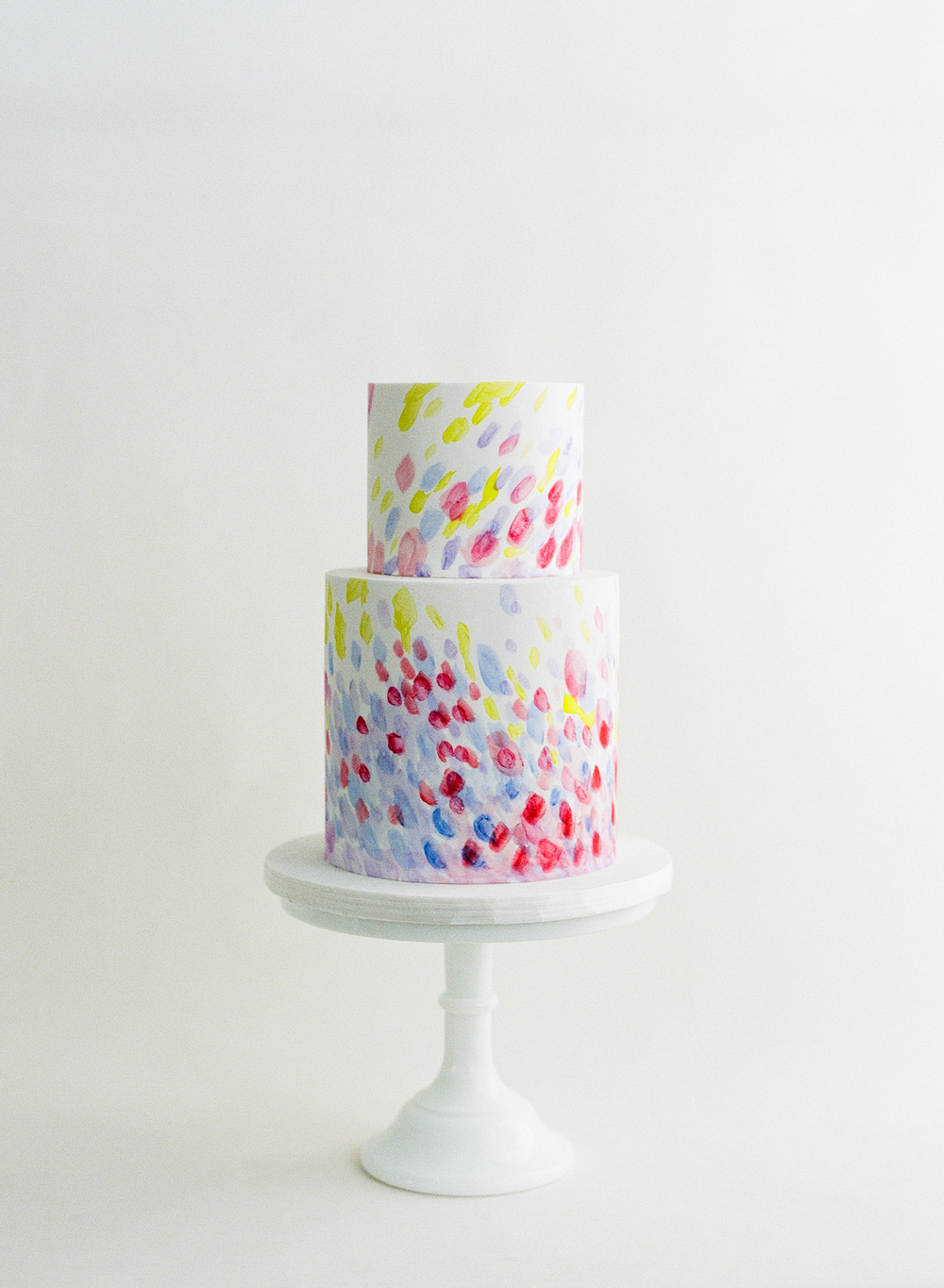 Colorful abstract watercolor two tier cake; Sylvie Gil Photography