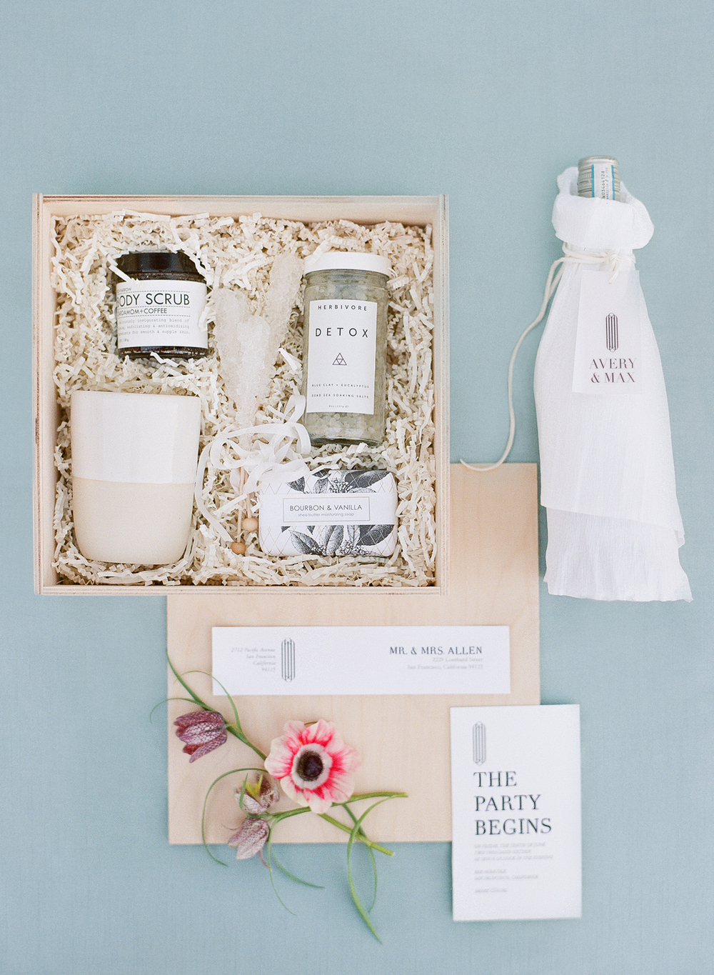 Wedding favor box filled with artisan bath and beauty products; Sylvie Gil Photography