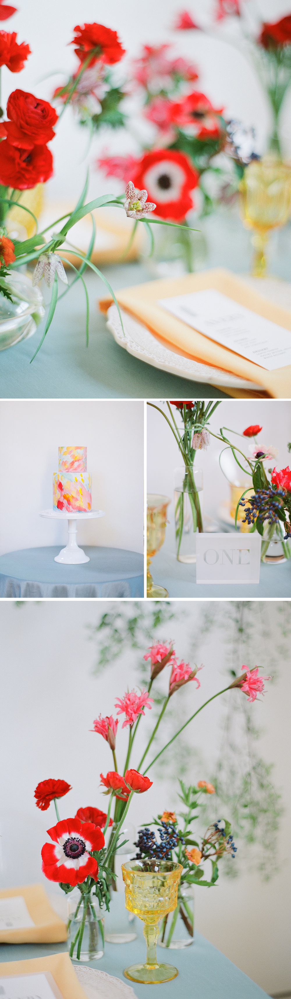 Jewel tone glassware and table settings, with viburnum berry floral accents; Sylvie Gil Photography