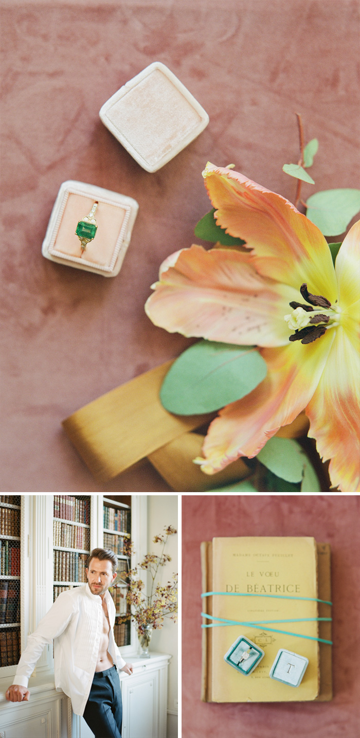 The groom poses in open shirtsleeves, the rings sits atop vintage books; photos by Sylvie Gil