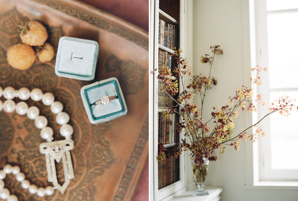 Florals in the chateau library, monogrammed ring box; Sylvie Gil Photography